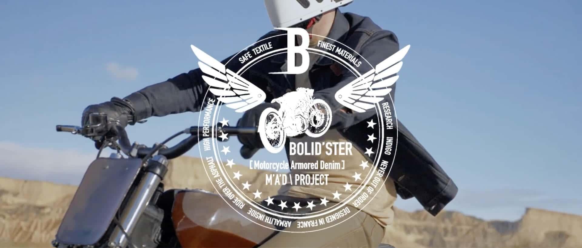 Image d'un motard avec le logo de bolid'ster par dessus