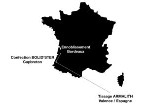 Carte décrivant les différents lieux de fabrication français
